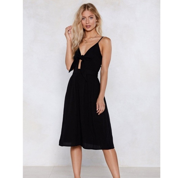 Nasty Gal Dresses & Skirts - Nasty Gal Black Midi Tie Front Dress